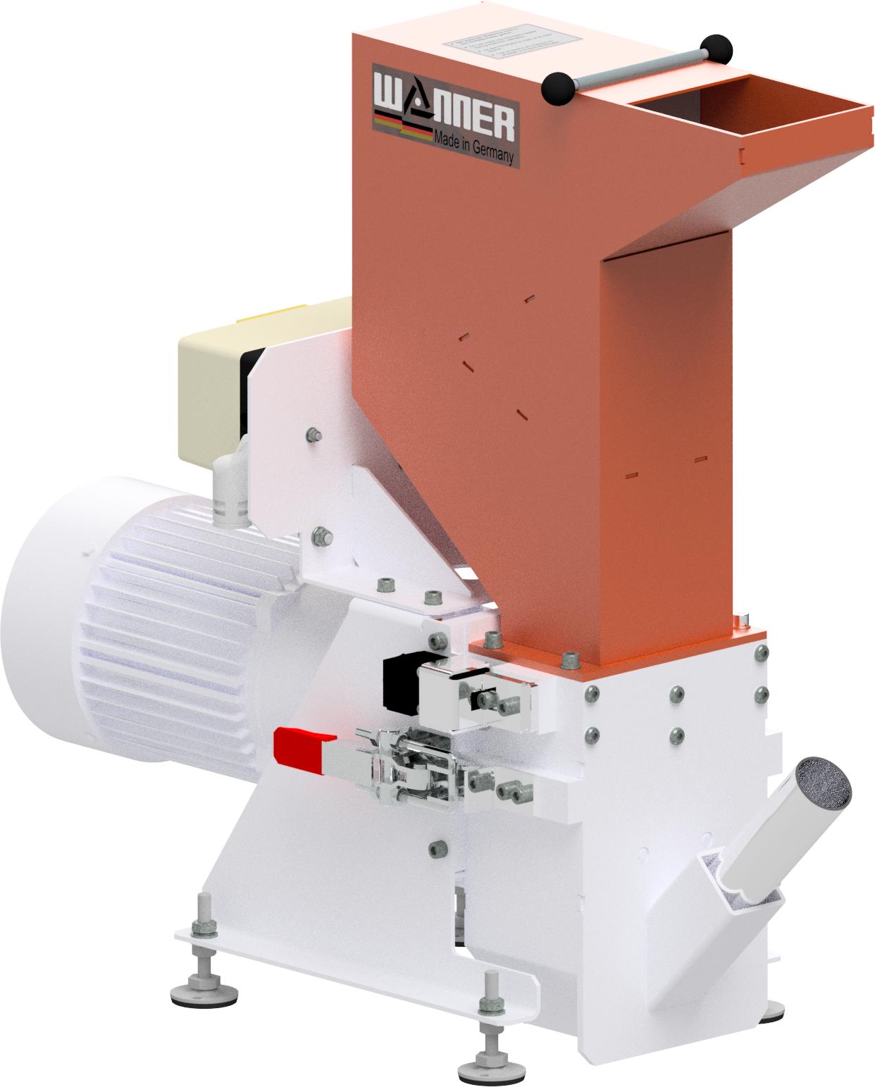 Bild der Wanner B08.10 Kunststoffschneidmühle. ISO Ansicht. Die Schneidmühle für Plastik und Kunststoffe, zentral oder als Beistellmühle. Liefert bei der Zerkleinerung von Angüssen, Butzen und Blasformen feinstes Mahlgut.