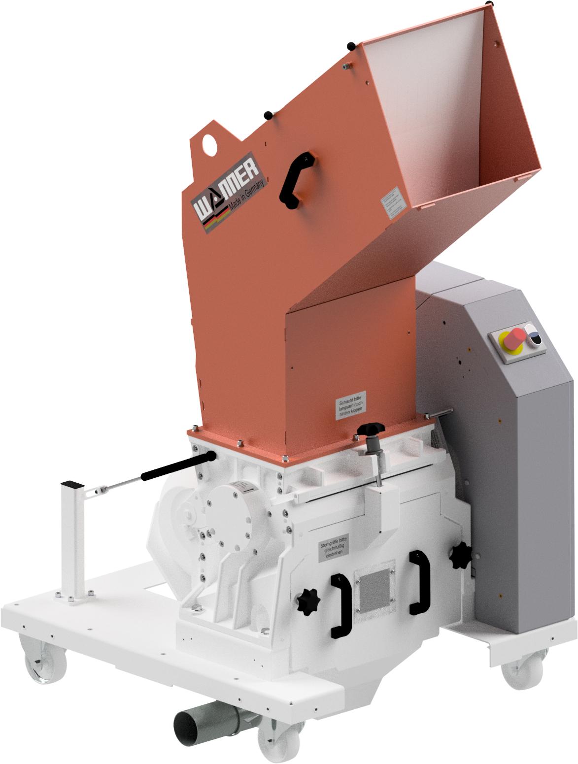 Bild der Wanner D25.38 Standard Kunststoffschneidmühle. ISO Ansicht. Die Schneidmühle für Plastik und Kunststoffe, zentral oder als Beistellmühle. Liefert bei der Zerkleinerung von Angüssen, Butzen und Blasformen feinstes Mahlgut.