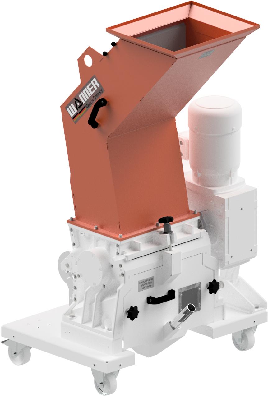 Bild der Wanner Dynamic D25.38 Standard Kunststoffschneidmühle. ISO Ansicht. Die Schneidmühle für Plastik und Kunststoffe, zentral oder als Beistellmühle. Liefert bei der Zerkleinerung von Angüssen, Butzen und Blasformen feinstes Mahlgut.