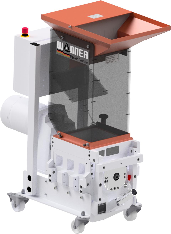 Die Wanner Xtra X-Serie Kunststoffschneidmühle in der ISO-Ansicht. Die Schneidmühle für Plastik und Kunststoffe. Gebraucht wird die Zahnwalzenmühle bei der Zerkleinerung von Angüssen, Butzen und Blasformen.